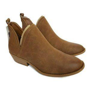 Nora Faux Leather Cognac  Brown Cut Out Boots 9